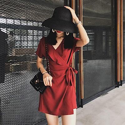 DABI 韓國風時尚百搭顯瘦不規則v領系帶短袖洋裝