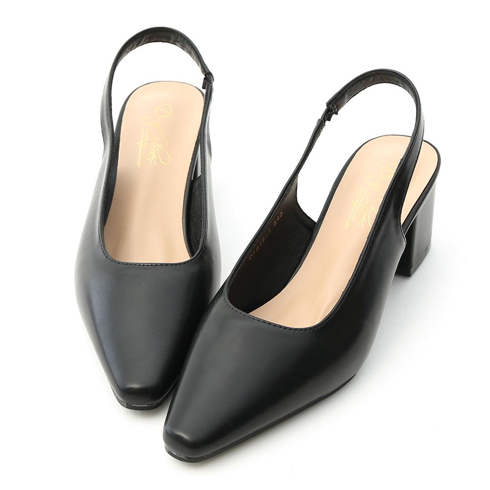 D+AF 韓系風尚.素面微尖頭後空中跟鞋*黑