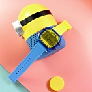 I AM 電子液晶 繽紛色彩 錶帶自由搭配 矽膠手錶-黃x透明藍x紅/38mm
