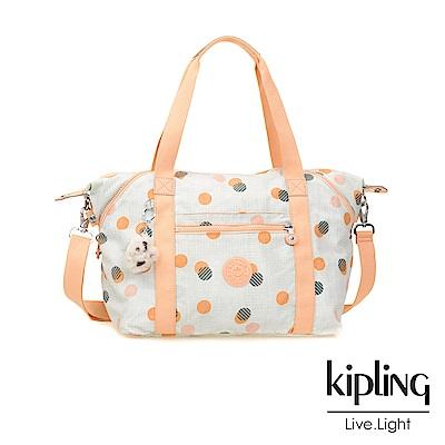Kipling 手提包 清新橘圓點印花-中