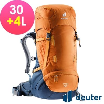 【deuter 德國】FOX 30+4L拔熱式背包3611121芒果黃/暗藍/登山健行包/休閒旅遊包/青少年適用