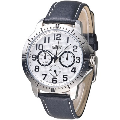 CITIZEN 魅力小秒針全月曆男錶-白(AG8310-08A)/34mm @ Y!購物