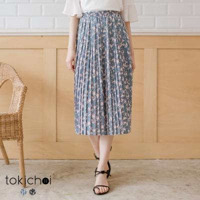 東京著衣 知性優雅滿版星星腰鬆緊百褶中長裙-S.M.L(共兩色)