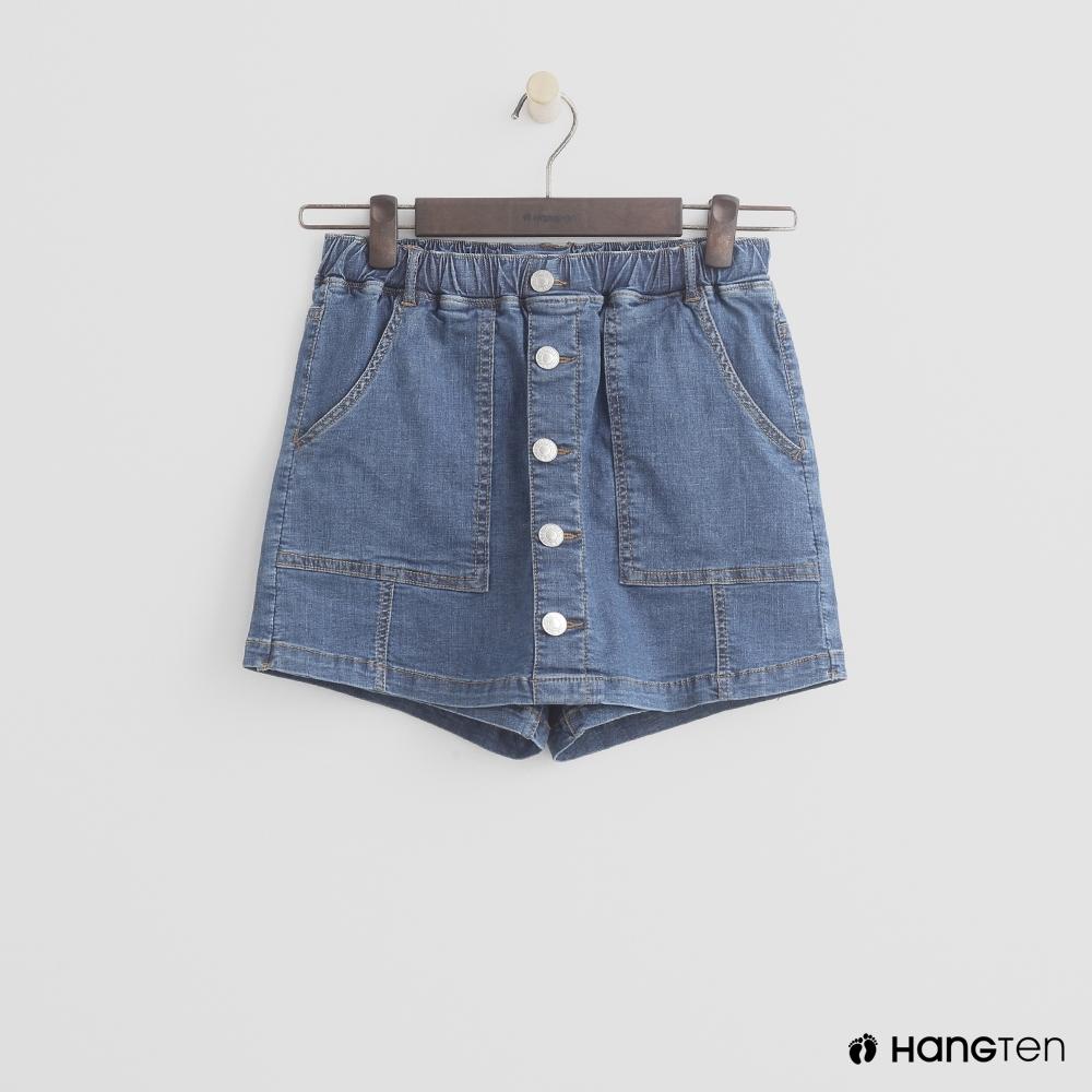 Hang Ten-童裝-排釦牛仔短褲-藍