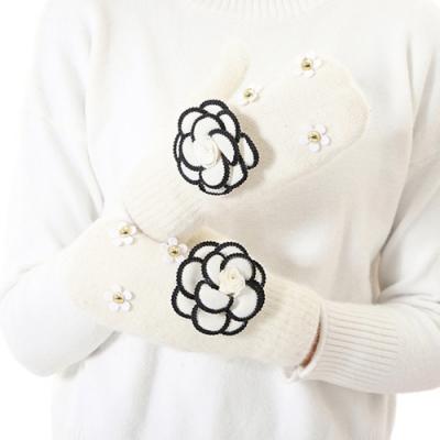 Decoy 優雅茶花 包指加厚毛線保暖手套 米白