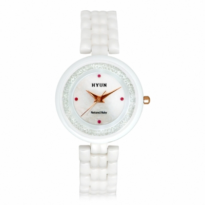 HYUN炫 珍珠母貝陶瓷鑲鑽精品錶-白