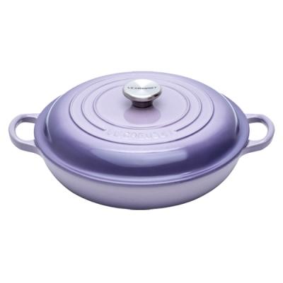 LE CREUSET 琺瑯鑄鐵淺底鍋26cm-藍鈴紫-鋼頭