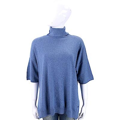 Andre Maurice 喀什米爾藍色高領短袖羊毛衫