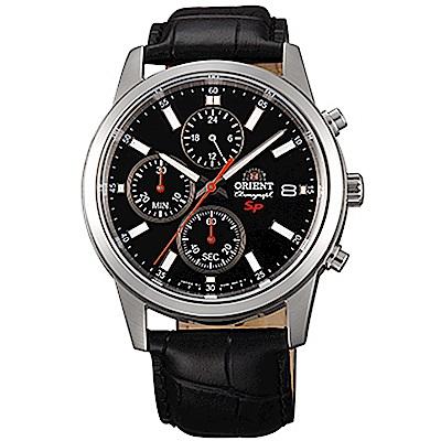 ORIENT 透徹時光三眼計時運動石英腕錶皮帶(FKU00004B0)-黑x42mm