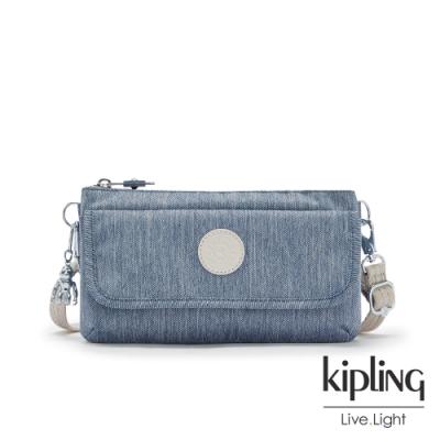 Kipling 淺色丹寧藍翻蓋肩背斜背包-VECKA STRAP CB