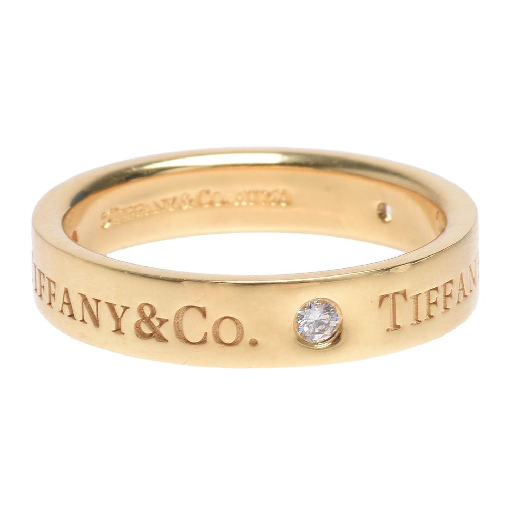 TIFFANY&Co. 經典品牌LOGO 18K金鑽石結婚戒指