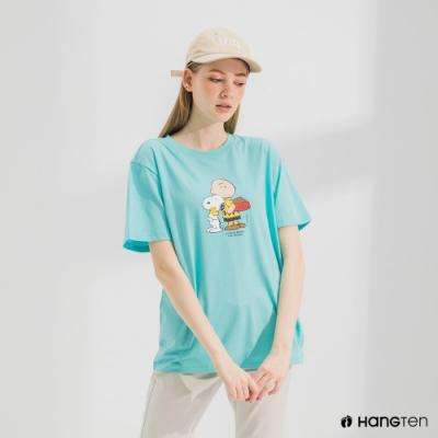 Hang Ten-中性款-Charlie Brown趣味印花短袖T恤-綠色