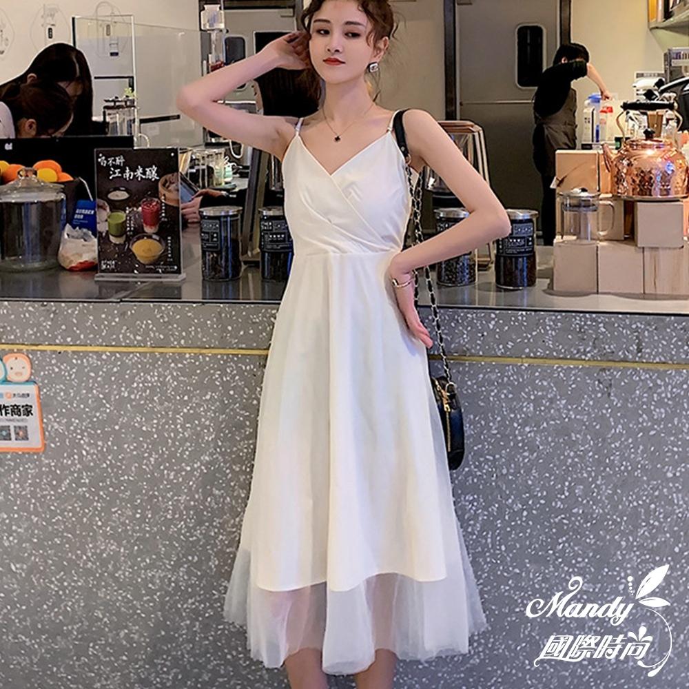 Mandy國際時尚 無袖洋裝 法國復古網紗吊帶百褶裙