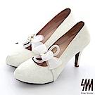 【SM】手工婚鞋-蕾絲紗網花朵防水台小圓尖頭高細跟新娘鞋(2色)