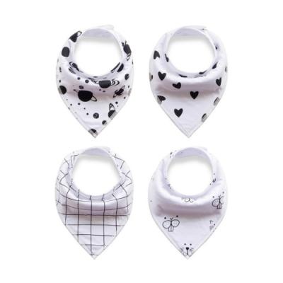 JoyNa寶寶雙層三角巾圍兜手帕口水巾-4入組