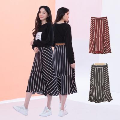 (時時樂限定)【KiKi】線條荷葉裙擺-長裙(二色/版型寬鬆)