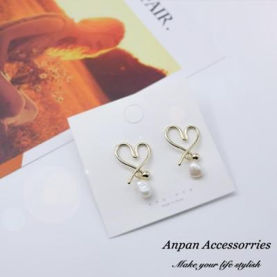 【Anpan 愛扮】韓東大門設計師款簡約愛心滿滿珍珠925銀針耳釘式耳環