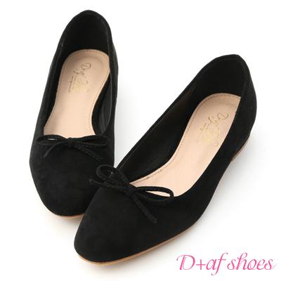D+AF 芭蕾女伶.小尖頭絨料芭蕾娃娃鞋*黑
