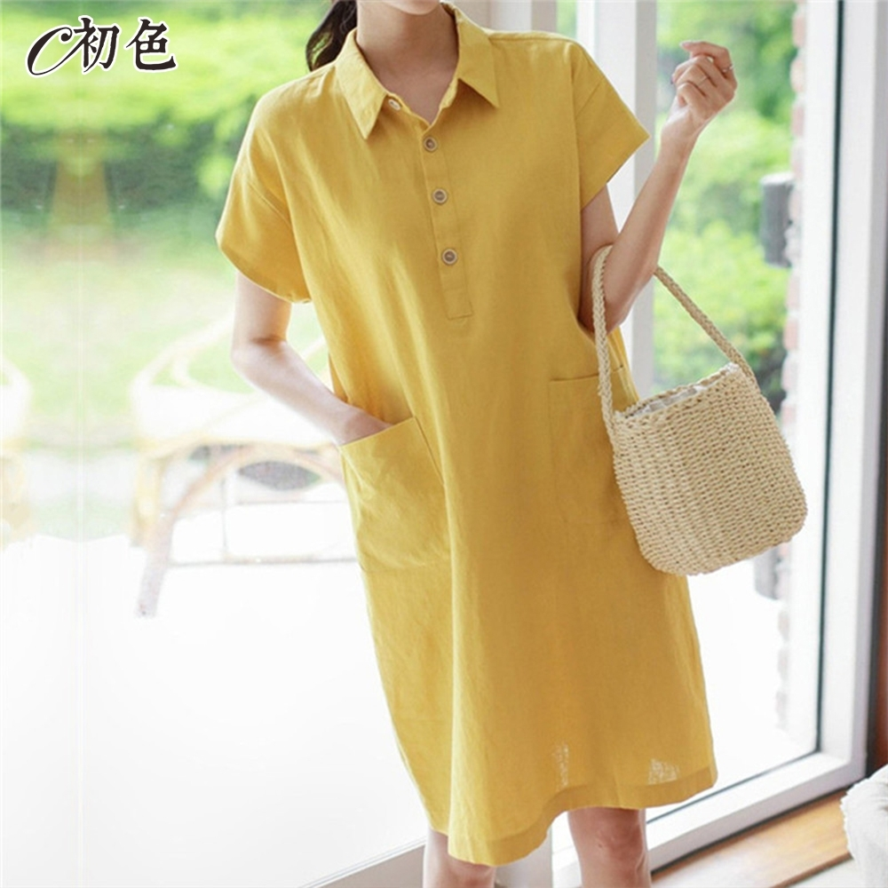 初色  小清新POLO領洋裝-共3色-(M-2XL可選)