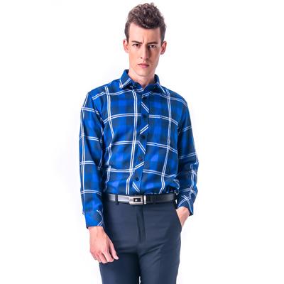 金-安德森-藍色大格白線厚暖長袖襯衫