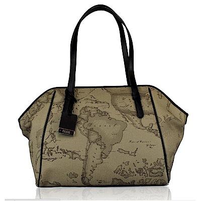 Alviero Martini 義大利地圖包 拉鍊長把手提肩背包- 地圖灰