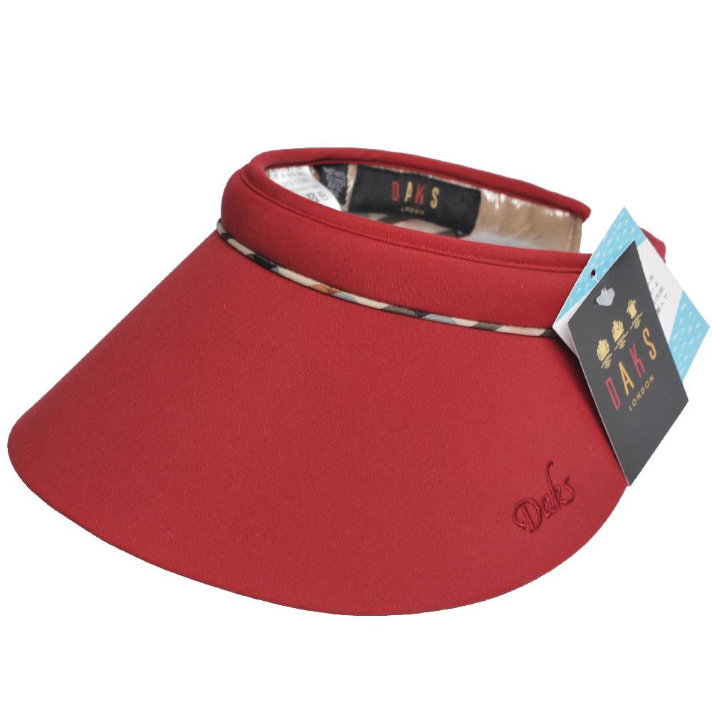 DAKS 經點字母LOGO刺繡格紋滾邊運動型遮陽帽(紅色系)