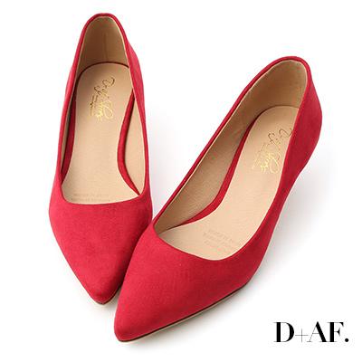 D+AF 典雅秋氛.素面絨料低跟尖頭鞋*紅