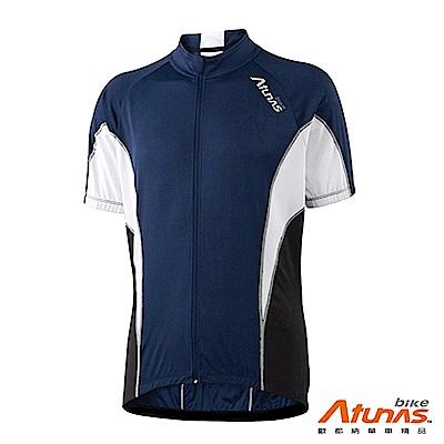 《Atunas Bike》歐都納 單車 B13027M 風潮短袖車衣 深藍/白
