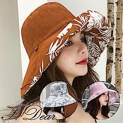 I.Dear-日韓海灘風椰樹圖騰雙面配戴遮陽帽漁夫帽(4色)