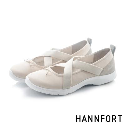 HANNFORT 澳洲  EASY WALK亮紗感芭雷氣墊健走鞋 女 米白