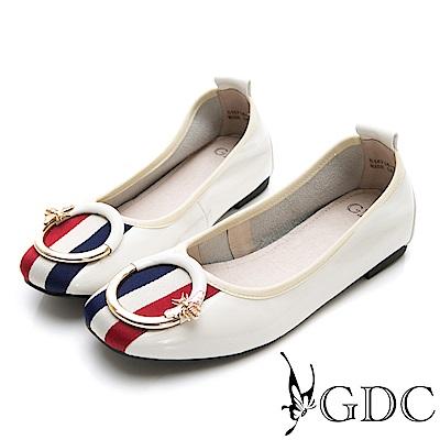 GDC-真皮歐美大牌三線圓釦平底漆皮秋冬包鞋-米色
