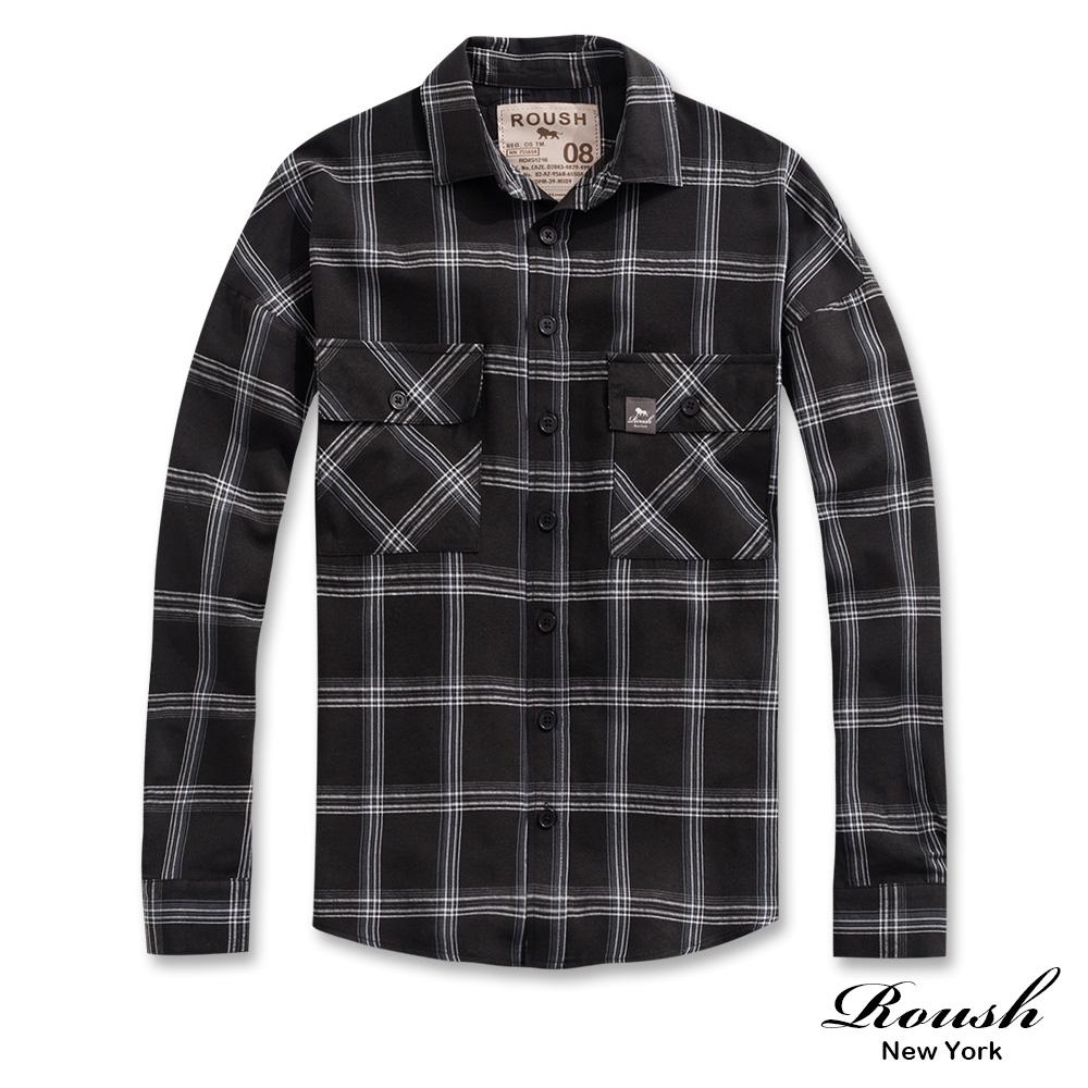 Roush 雙口袋落肩設計工裝格紋襯衫(3色)