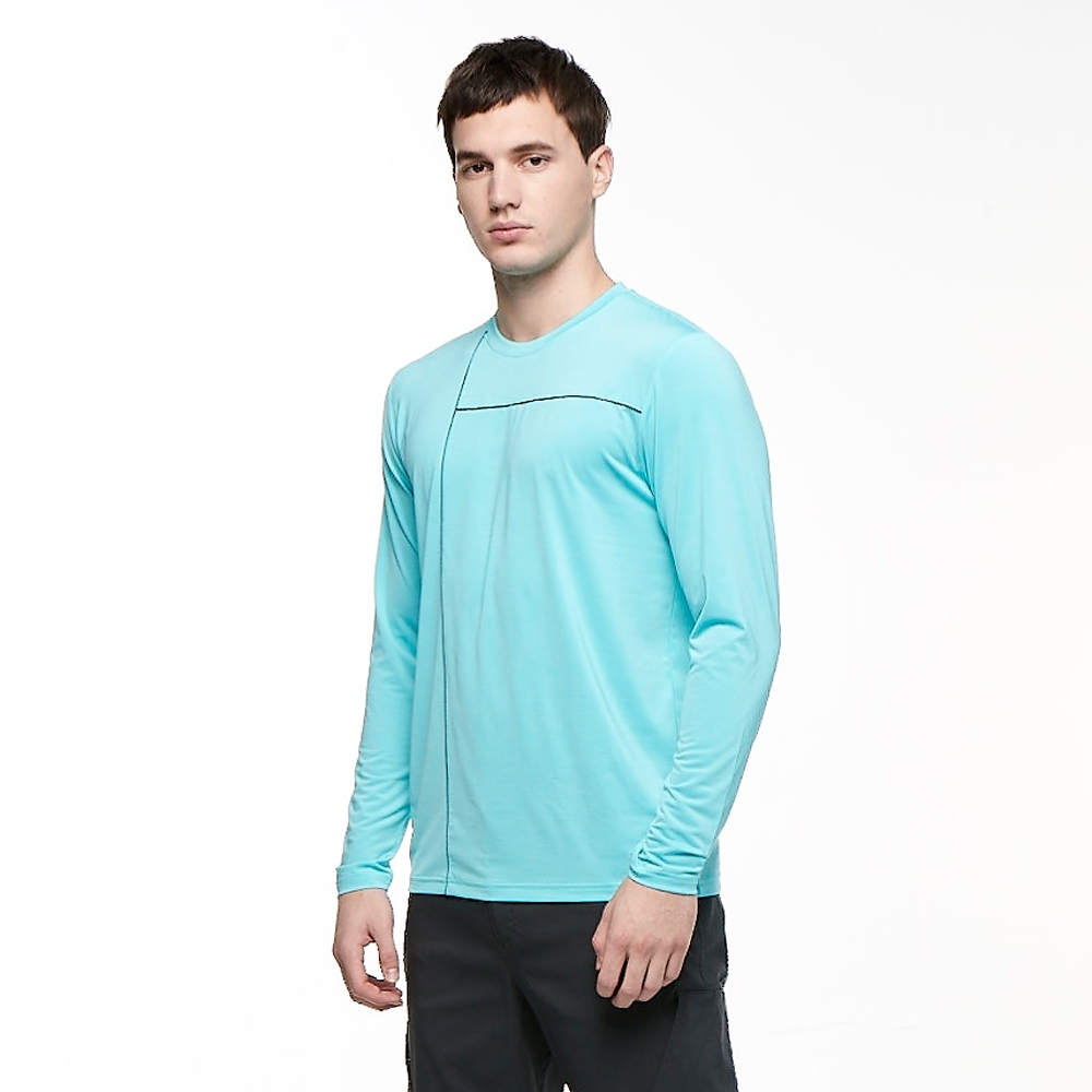 【HAKERS 哈克士】男 彈性吸濕排汗抗UV長袖上衣(日升藍)