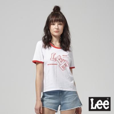 Lee短袖T恤 紅色立體文字logo印刷 白 女
