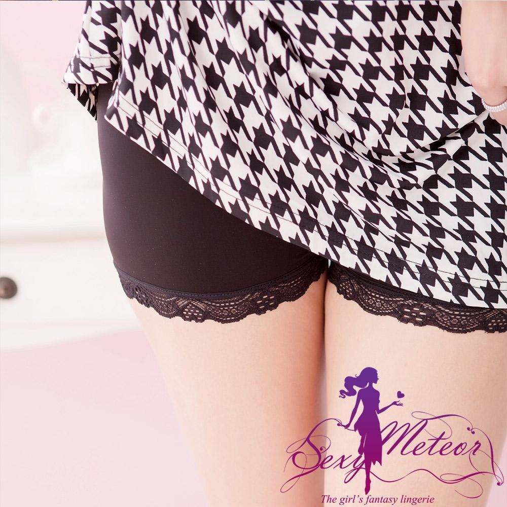 內搭 大尺碼 棉質蕾絲邊內搭褲安全褲(蕾絲黑) SexyMeteor