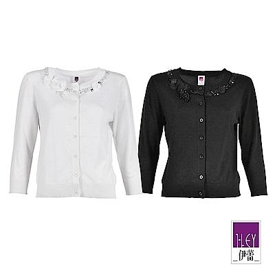 ILEY伊蕾 花朵造型領口鑽飾針織外套(黑/白)
