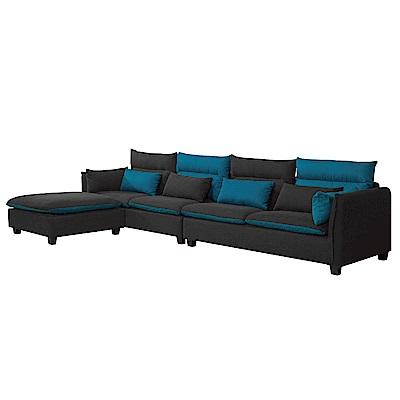 文創集 比多亞時尚棉麻布L型獨立筒沙發組合(四人座+椅凳)-347x190x70cm免組