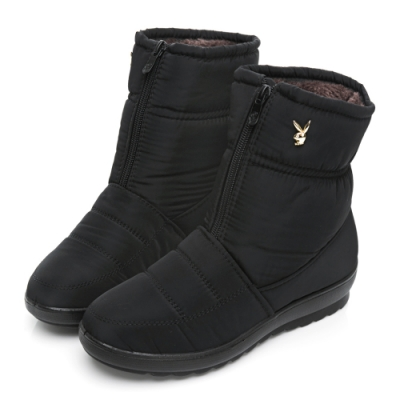 PLAYBOY 冬日暖意 防潑水輕量中筒雪靴-黑-Y6766CC