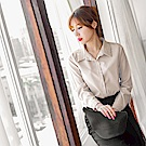 造型蕾絲雕花拼接純色襯衫-OB大尺碼