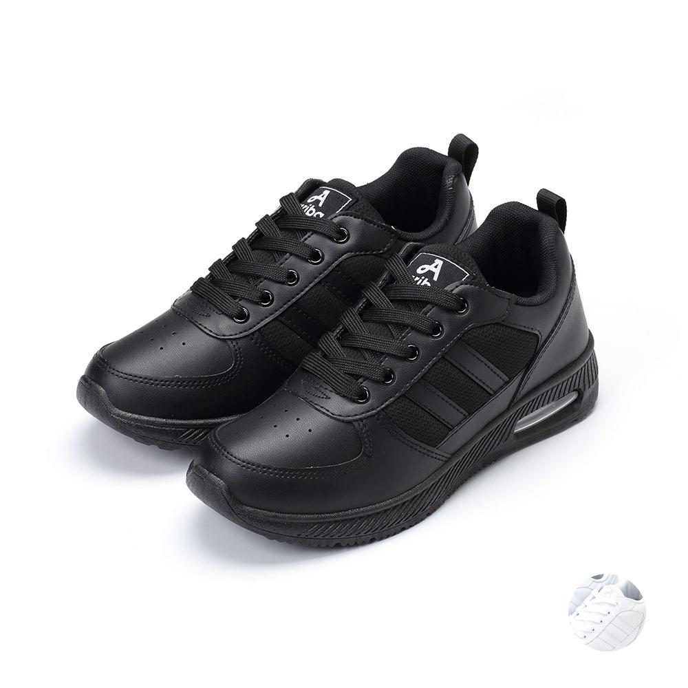 ARRIBA艾樂跑女鞋-皮質綁帶休閒鞋-黑/白(AB9013)