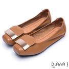 DIANA 愜意時尚–簡約金屬片真皮方頭娃娃鞋-焦糖棕