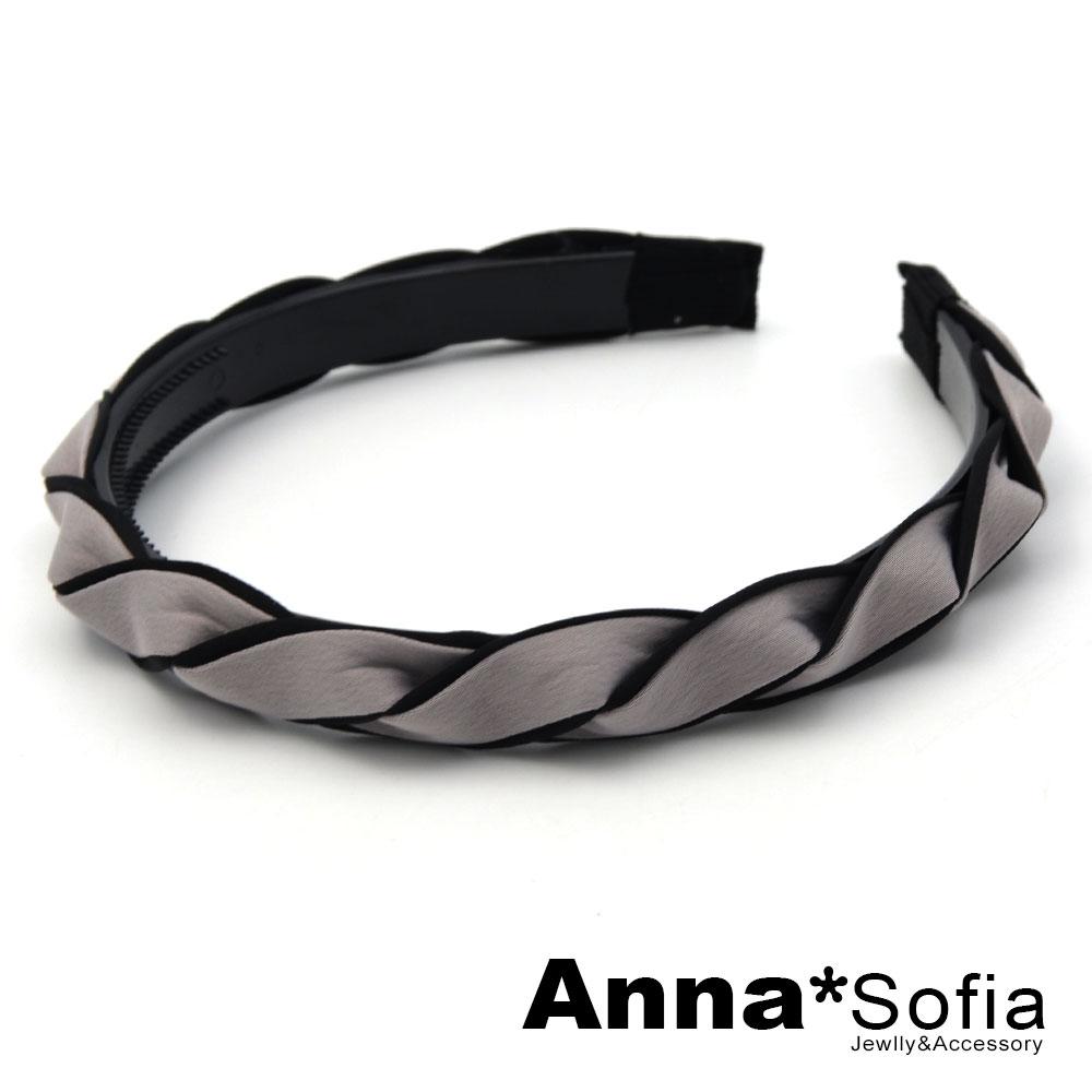【2件7折】AnnaSofia 拼色璇辮編 韓式髮箍(灰系)