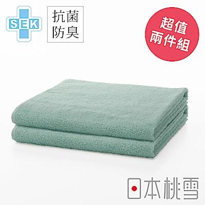 日本桃雪 SEK抗菌防臭運動大毛巾超值兩件組(鼠尾花綠)