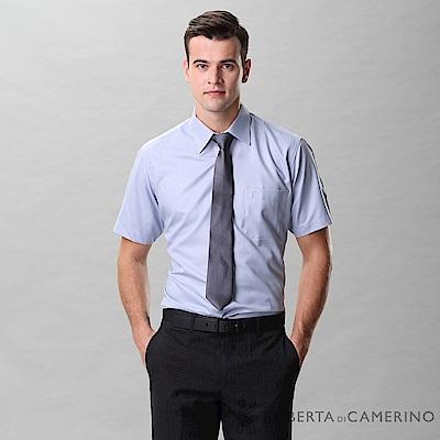 ROBERTA諾貝達 台灣製 合身版 商務紳士 條紋短袖襯衫 藍灰