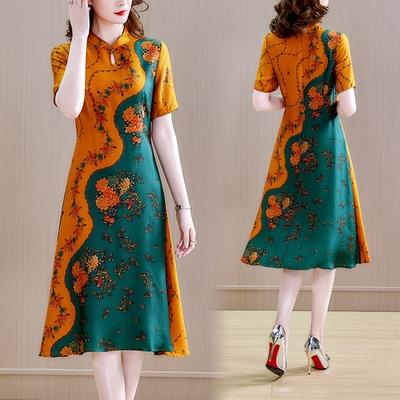 復古迷人盤扣水滴領撞色拼接印花改良旗袍洋裝M-3XL-REKO