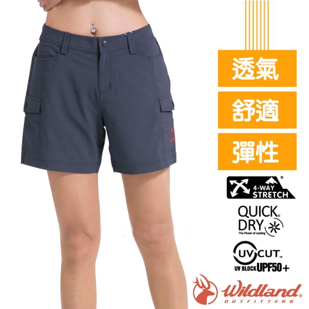 荒野 WildLand 女新款 超輕量_防曬抗UV/快乾透氣吸濕排汗短褲_深灰