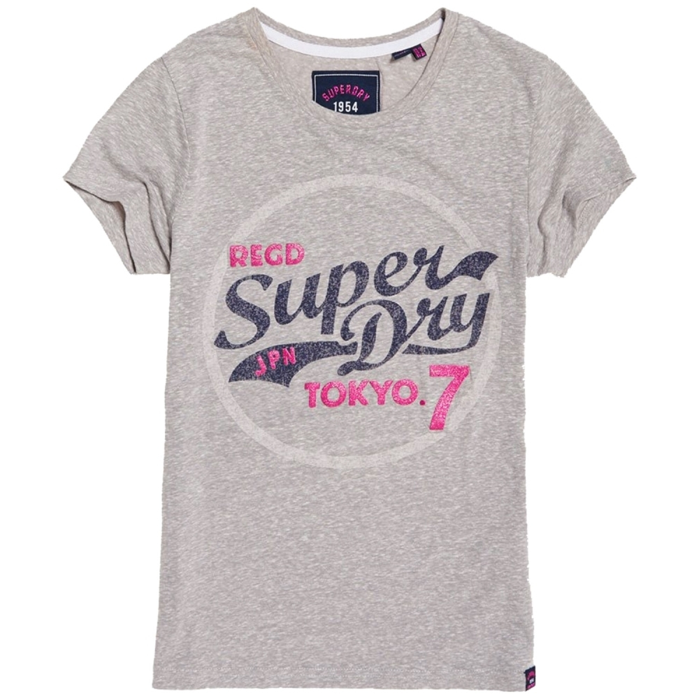 Superdry Tokyo 7 閃亮T恤(淺雪灰色)
