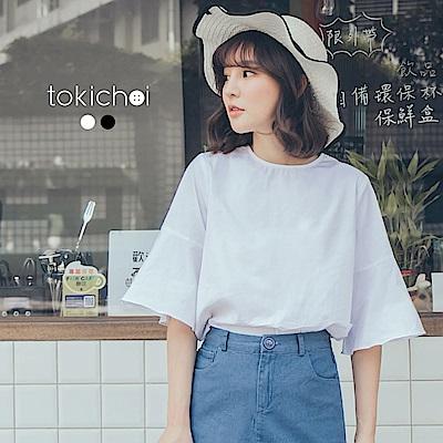 東京著衣 文青女孩的傘袖上衣-S.M(共二色)