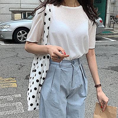 薄透圓領針織衫-3色-TMH