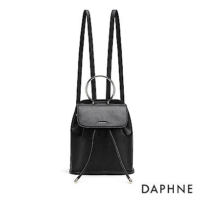 達芙妮DAPHNE-金屬圓環束口後背包-黑